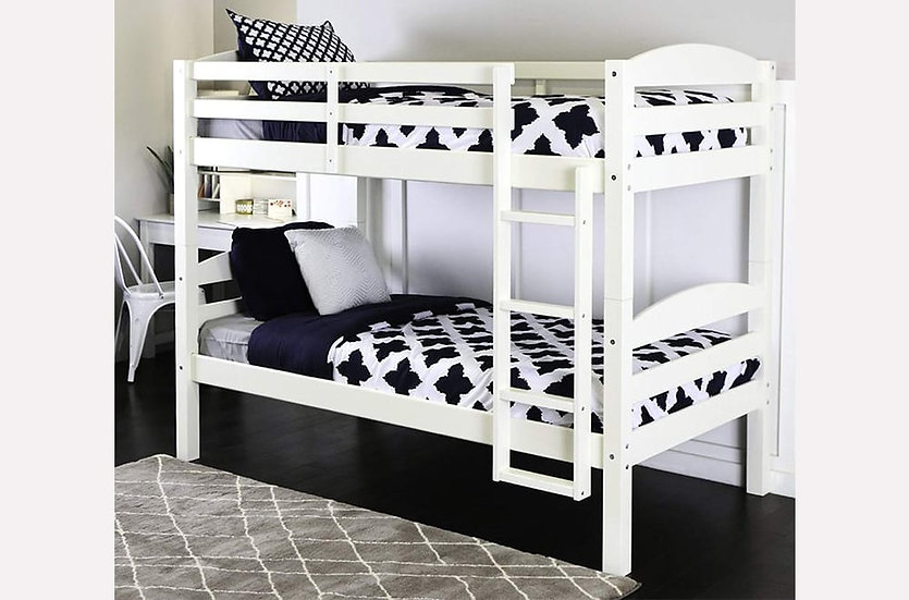 Twin over Twin Bunk Bed Frame  | White