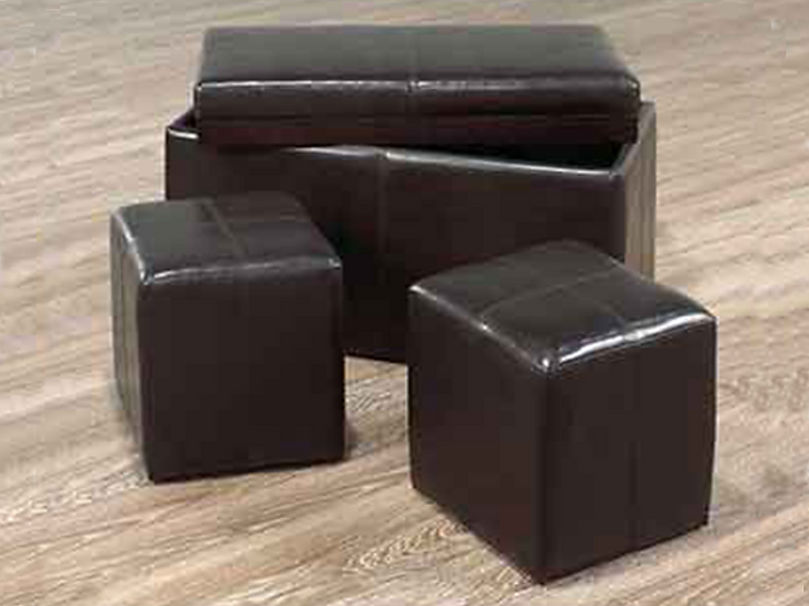 PU Leather Storage Bench with 2 cubes ~ Espresso