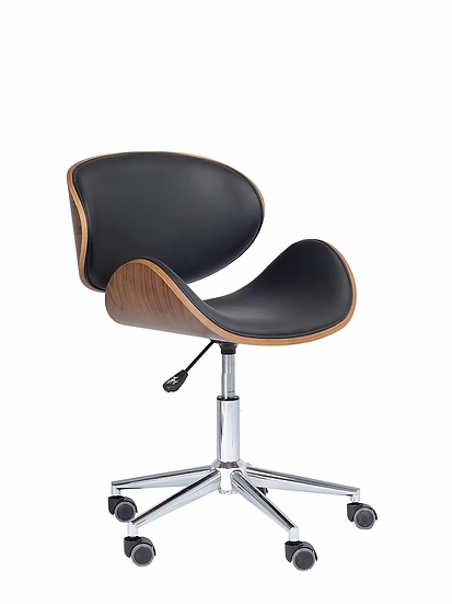 PU Leather Chair with Wooden Back - Black