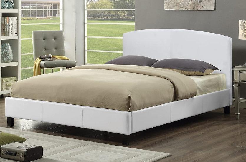 Leatherette Platform Bed ~ White