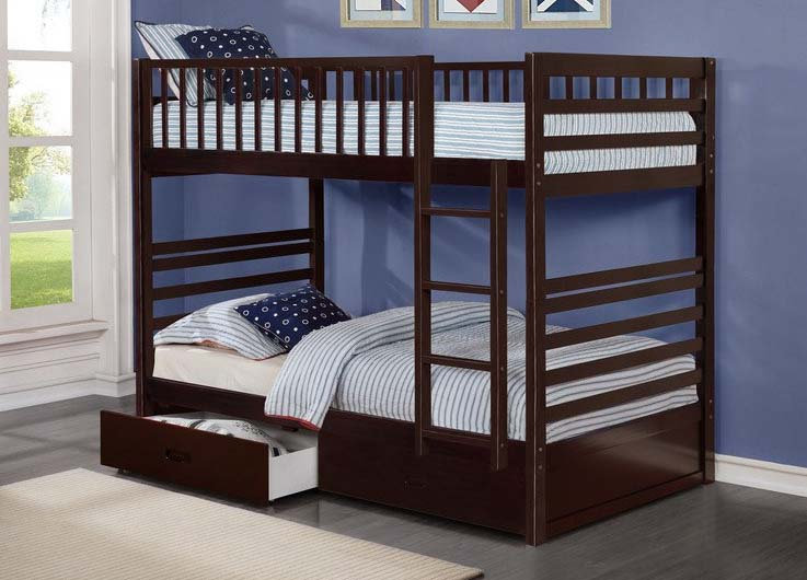 Twin over Twin Bunk Bed with Storage Drawers | Espresso