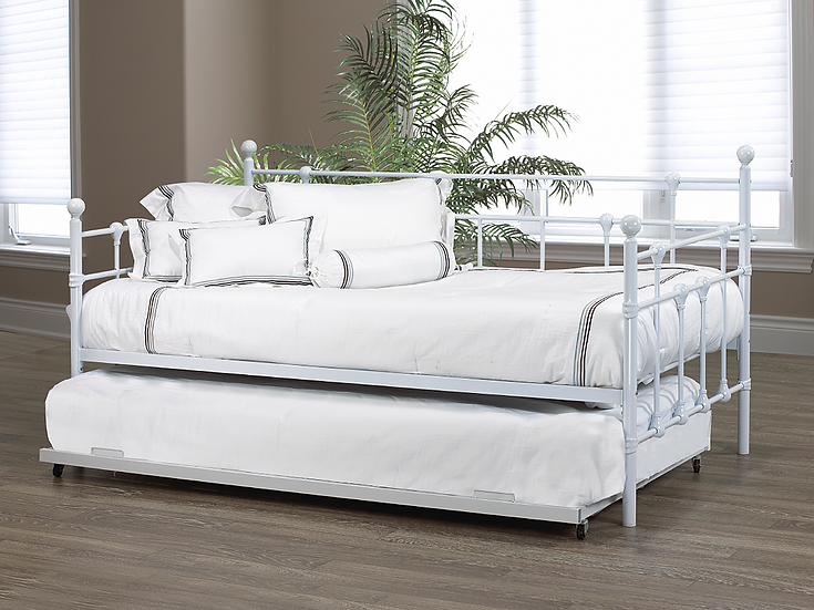 Metal Day Bed Optional Trundle Bed ~ White