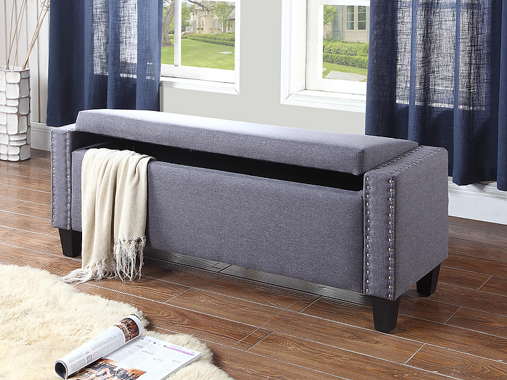 Fabric Storage Bench ~ Dark Grey