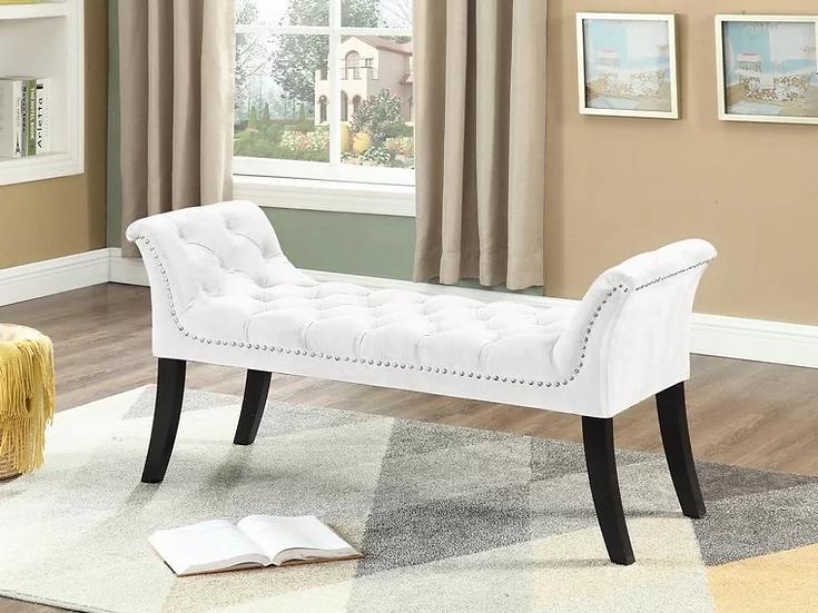 Velvet Fabric Bench ~ Cream