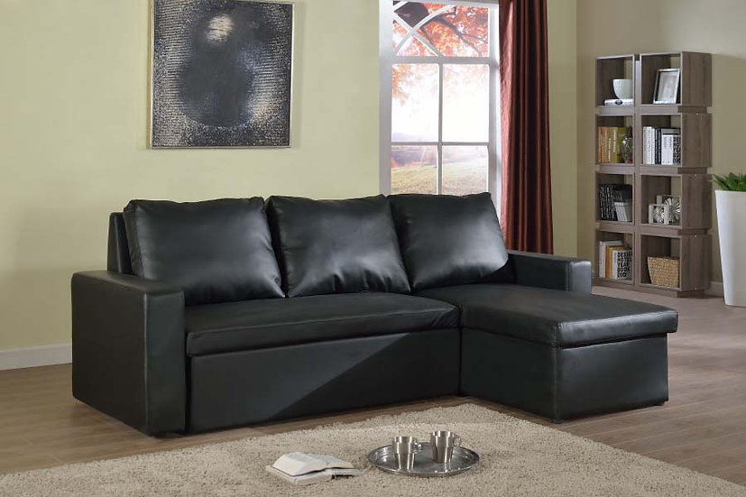 Sofa Pull Out Bed & Storage ~ Black