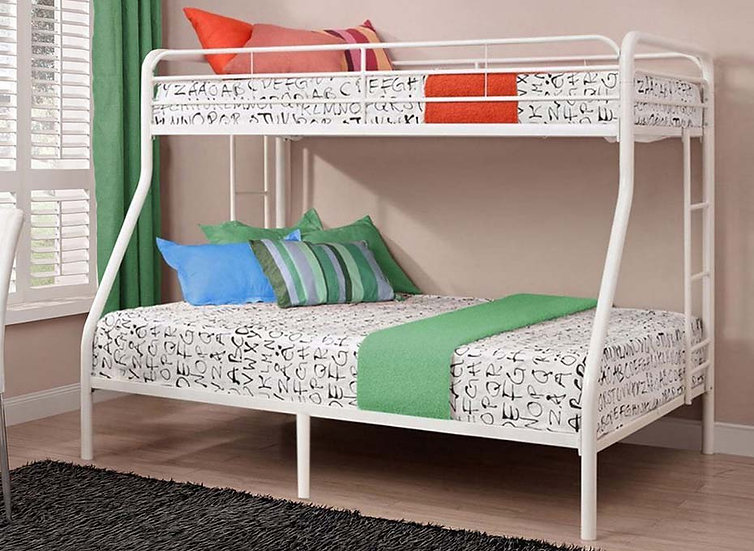 Metal Bunk Bed Twin over Full | White