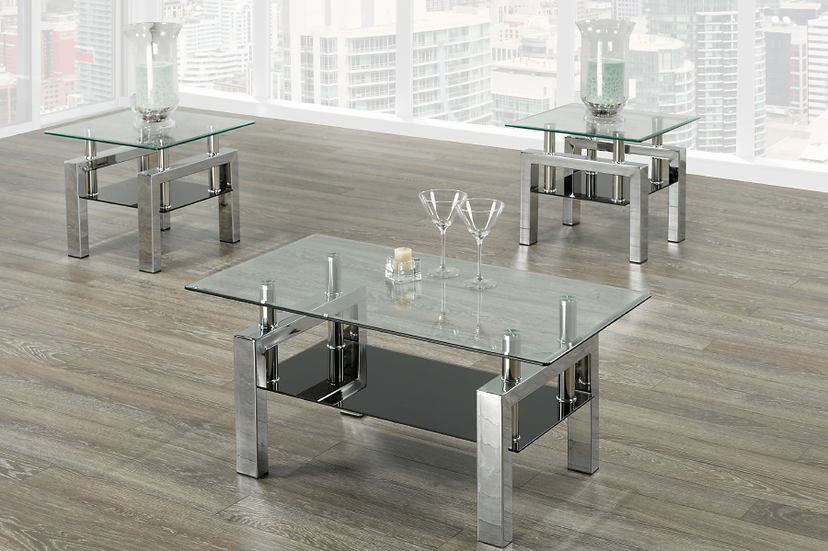 3 Piece Coffee Table Set ~ Glossy Chrome