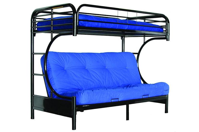 Bunk Bed with Sofa Futon | Black
