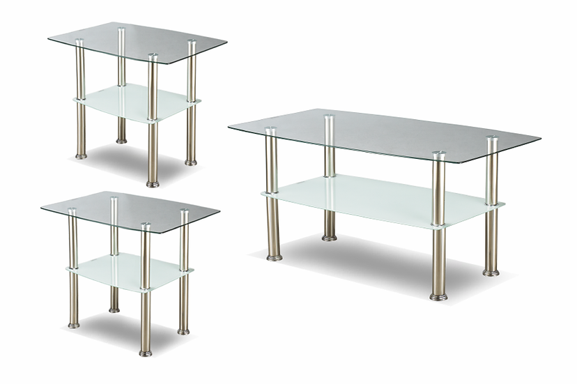 3 Piece Coffee Table Set Glass & Metal - Chrome