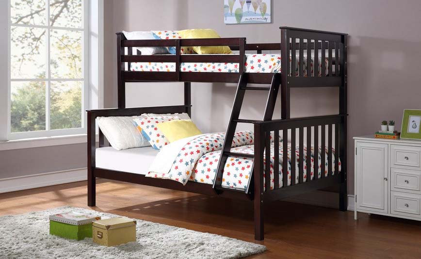 Wooden Twin over full Bunk Bed | Espresso