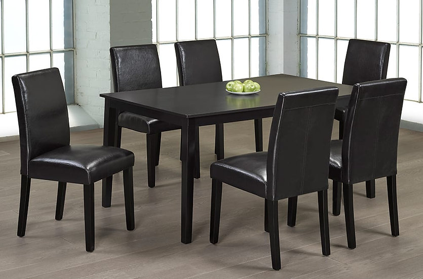 7 Piece Wood Upholstered Dining Set ~ Espresso