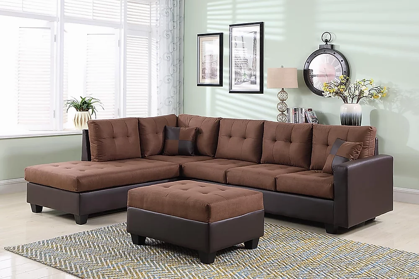 Fabric Sectional Sofa with Ottoman ~ Brown
