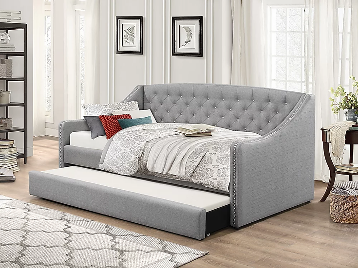 Fabric Trundle Day Bed ~ Grey