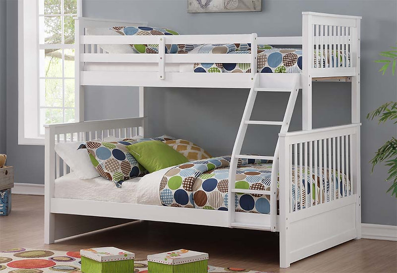 Twin over Double Bunk Bed | White