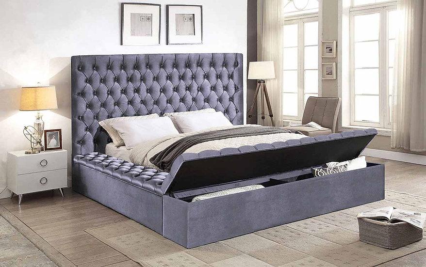 Storage Velvet Fabric Bed ~Grey