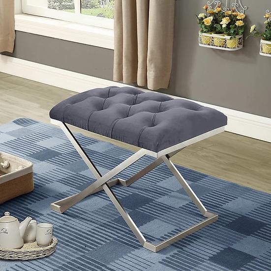 Velvet Fabric Bench ~ Grey
