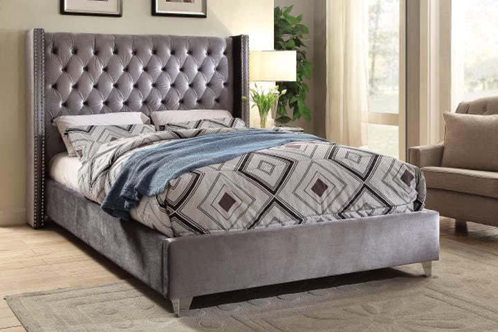 Velvet Fabric Platform Bed ~ Grey