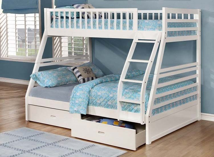Twin over Full Bunk Bed with Storage Drawers | White