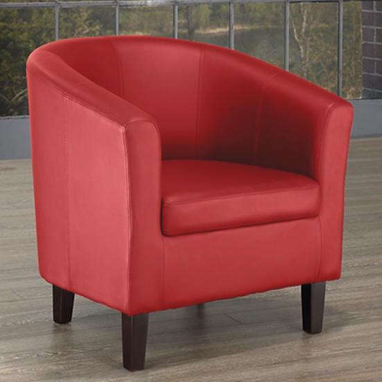 PU Leather Tub Chair ~ Red