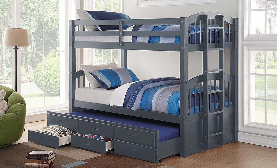 Bunk Bed with Trundle and Storage | Grey