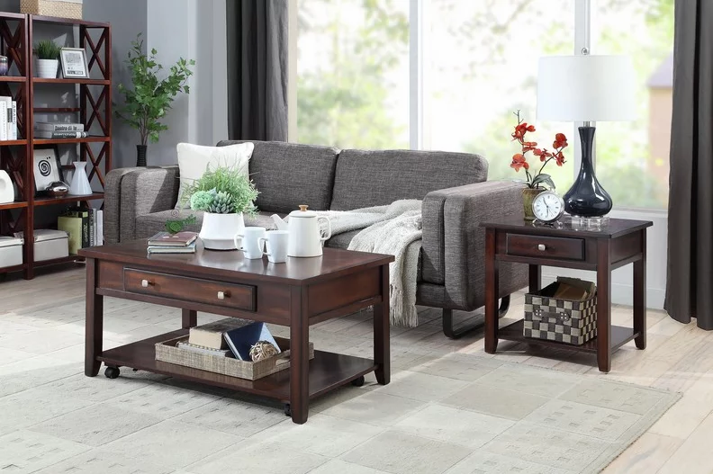 Wooden Lift Top Coffee Table Set ~ Espresso