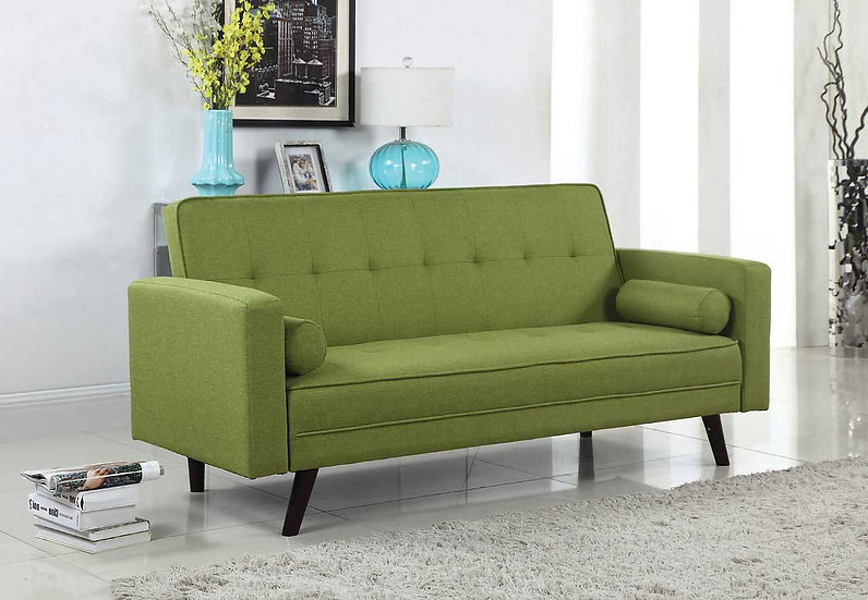 Linen-Style Fabric Sofa Bed  ~ Green