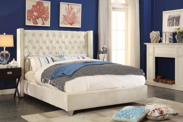 Velvet Fabric Platform Bed ~ Creme