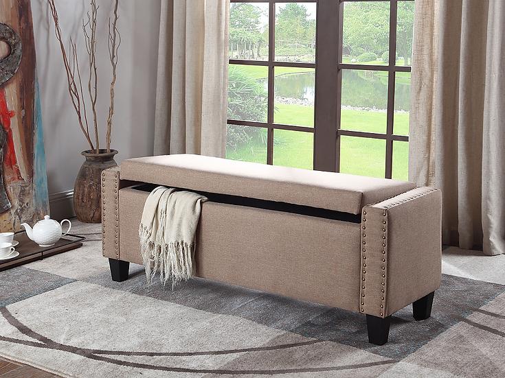 Fabric Storage Bench ~ Beige