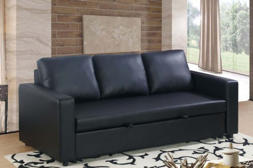 Leatherette Sofa Pull Out Bed ~ Black