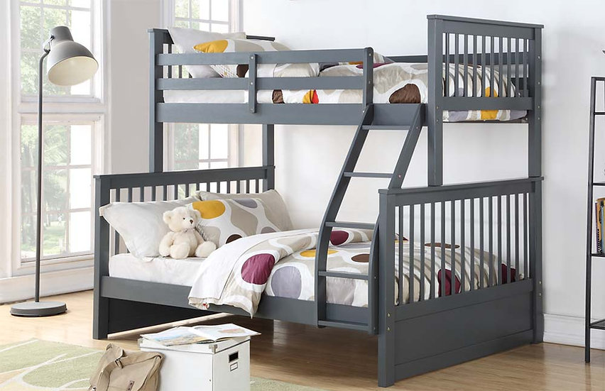 Wooden Twin over full Bunk Bed | Grey