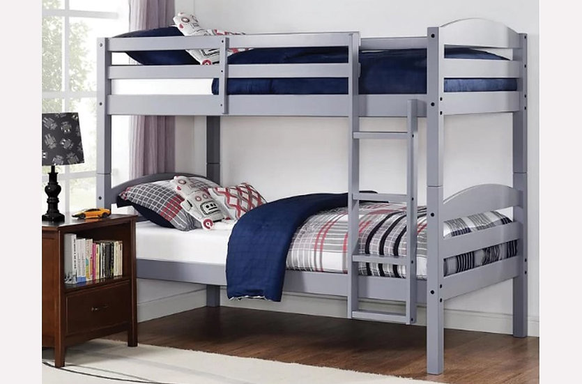 Twin over Twin Bunk Bed Frame  | Grey