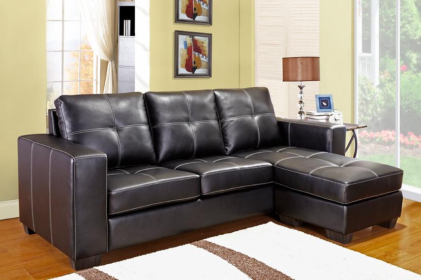 Reversible Leatherette Sectional Sofa ~ Black