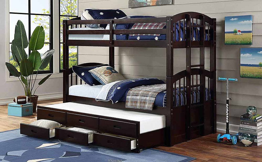 Twin Bunk Bed With Trundle and Drawers | Espresso
