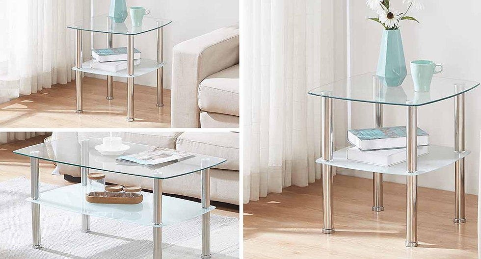 3 Piece Coffee Table Set ~ Chrome