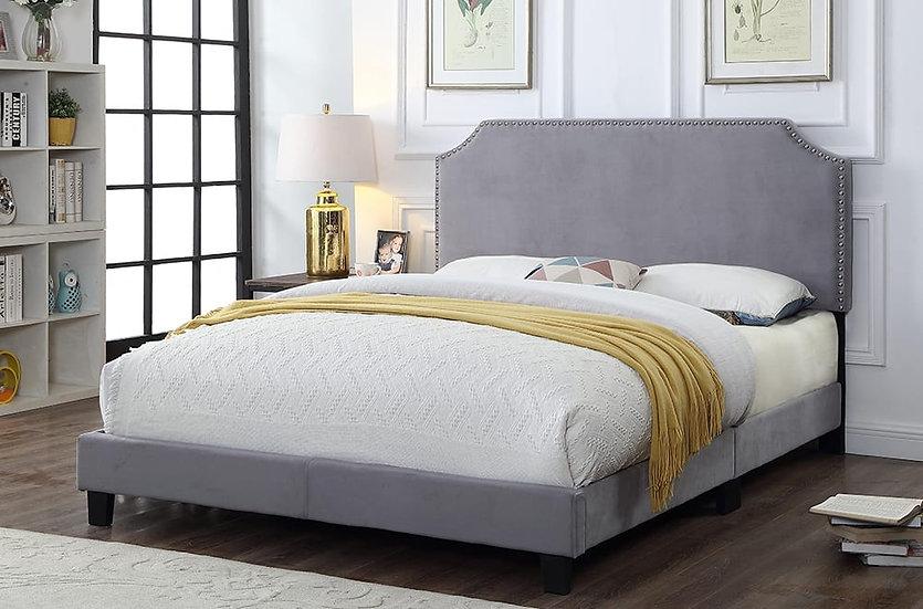 Fabric Upholstered Platform Bed | Grey