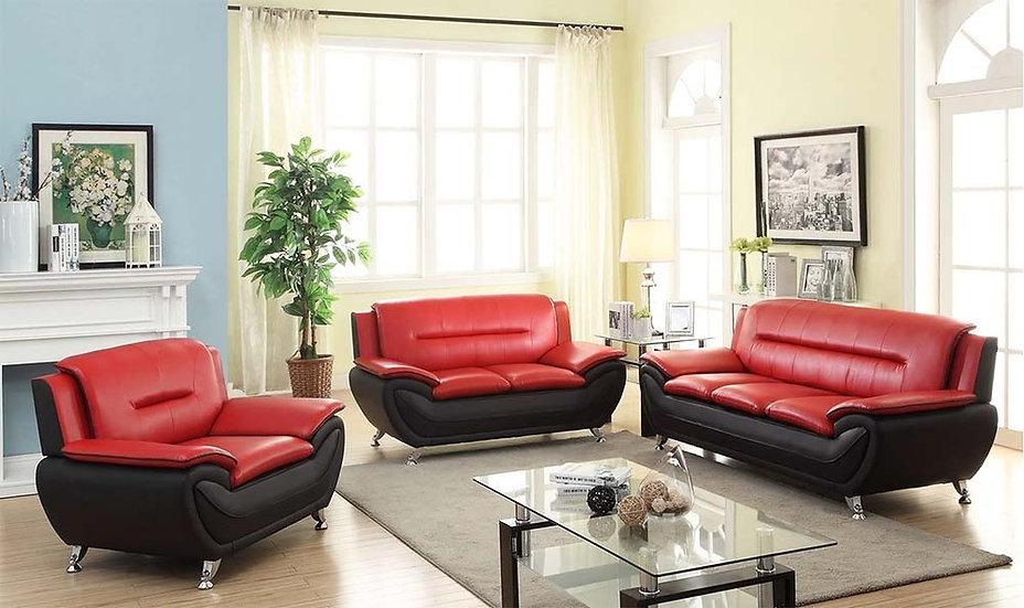 3 Piece Sofa Set ~ Red & Black