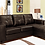 Thumbnail: Reversible Leatherette Sectional Sofa ~ Brown