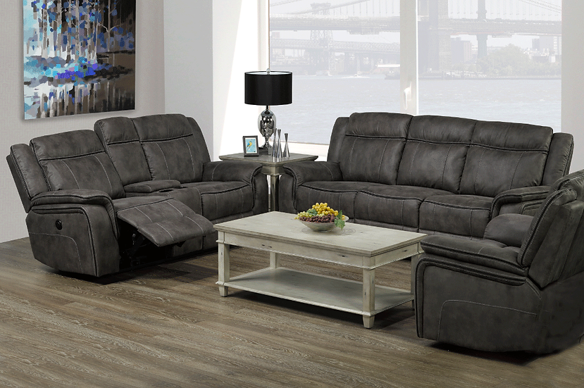 3 Piece Power Recliner Sofa Set ~ Grey