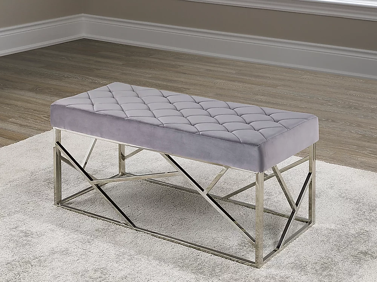 Velvet Fabric Bench ~ Grey