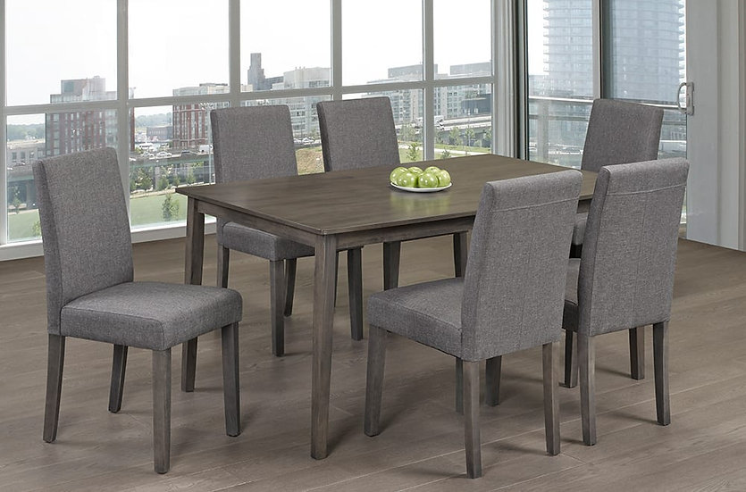 7 Piece Solid Wood Dining Table and Chairs | Grey Set