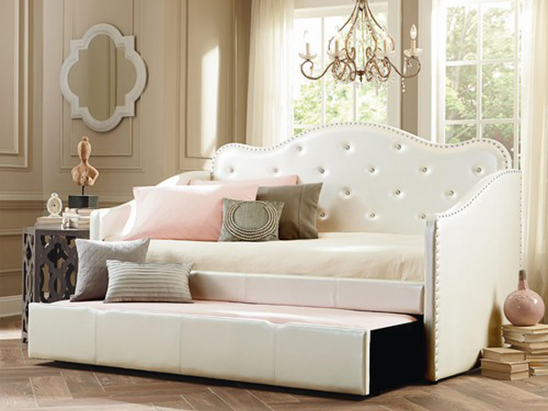 Leatherette Trundle Bed ~ White