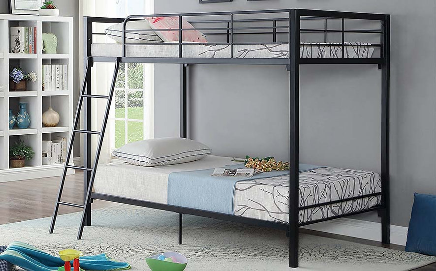 Twin over Twin Metal Bunk Bed   Black