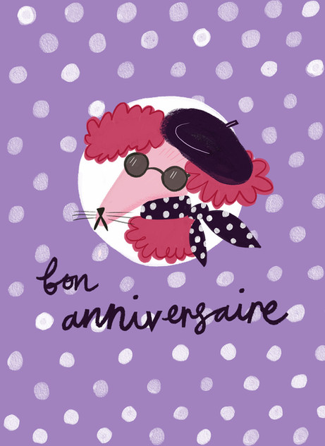 Greetings card design: French Dog Birthday