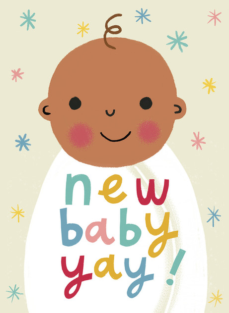 Greetings card design: New baby yay!