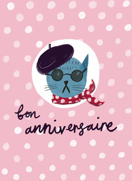 Greetings card design: French Cat Birthday