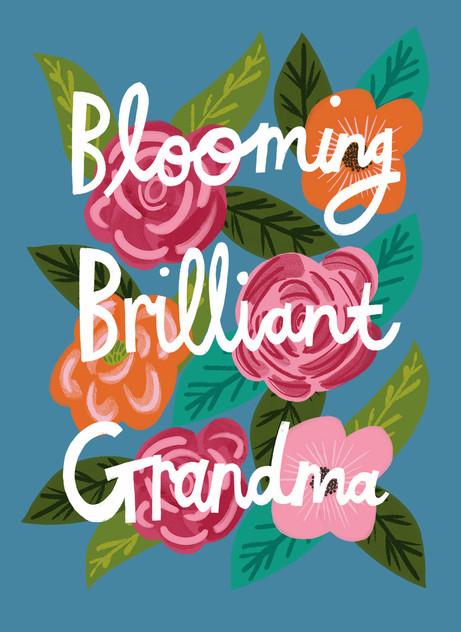 Greetings card design: Blooming Brilliant Grandma