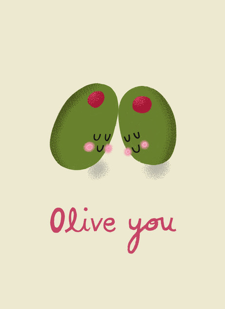 Greetings card design: Olive You