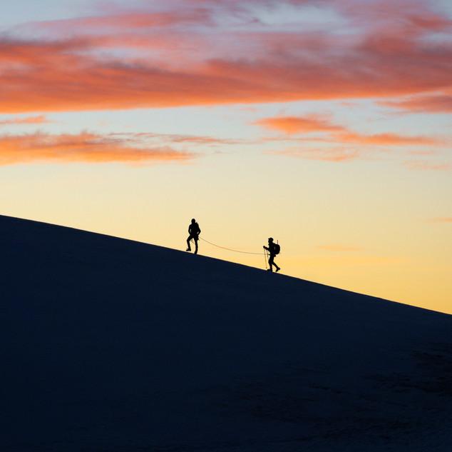 Rope Team on the magnificent Lyskamm Ridge