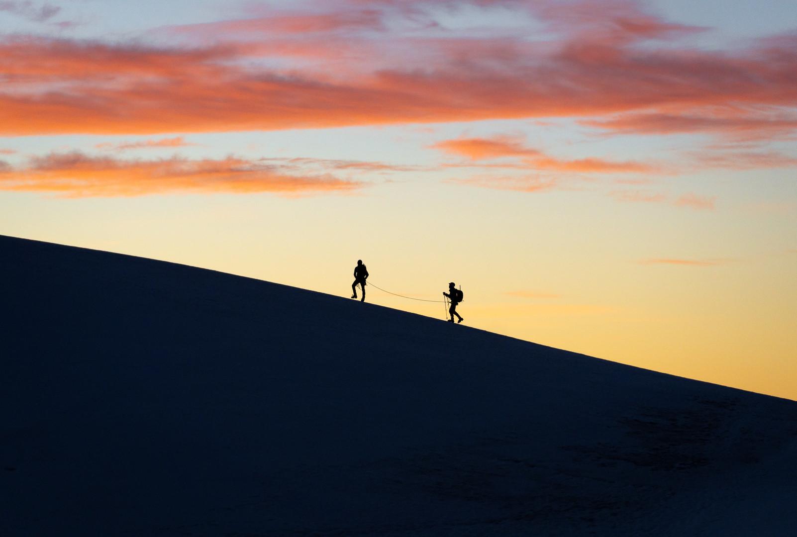 Rope Team on the Lyskamm Ridge