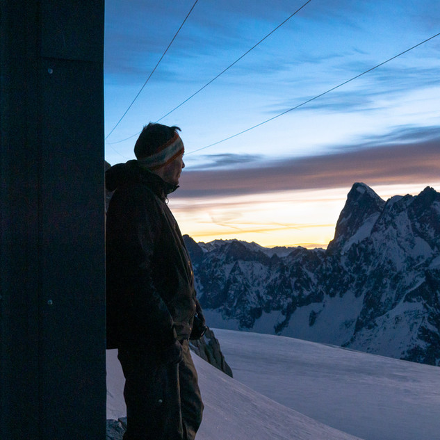 Watching the sunrise from the hut